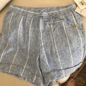 Ellen Tracy Linen Shorts Blue and White Pull On